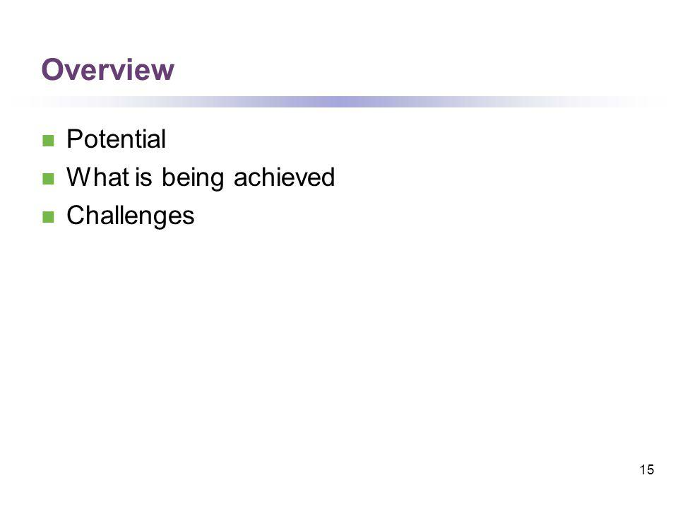 Overview Potential What is being achieved Challenges 15