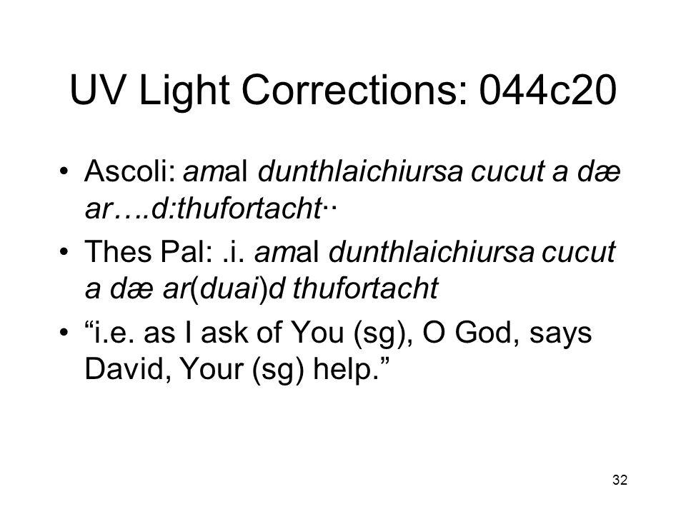 33 044c20 (continued) Reading under UV light: –.i.