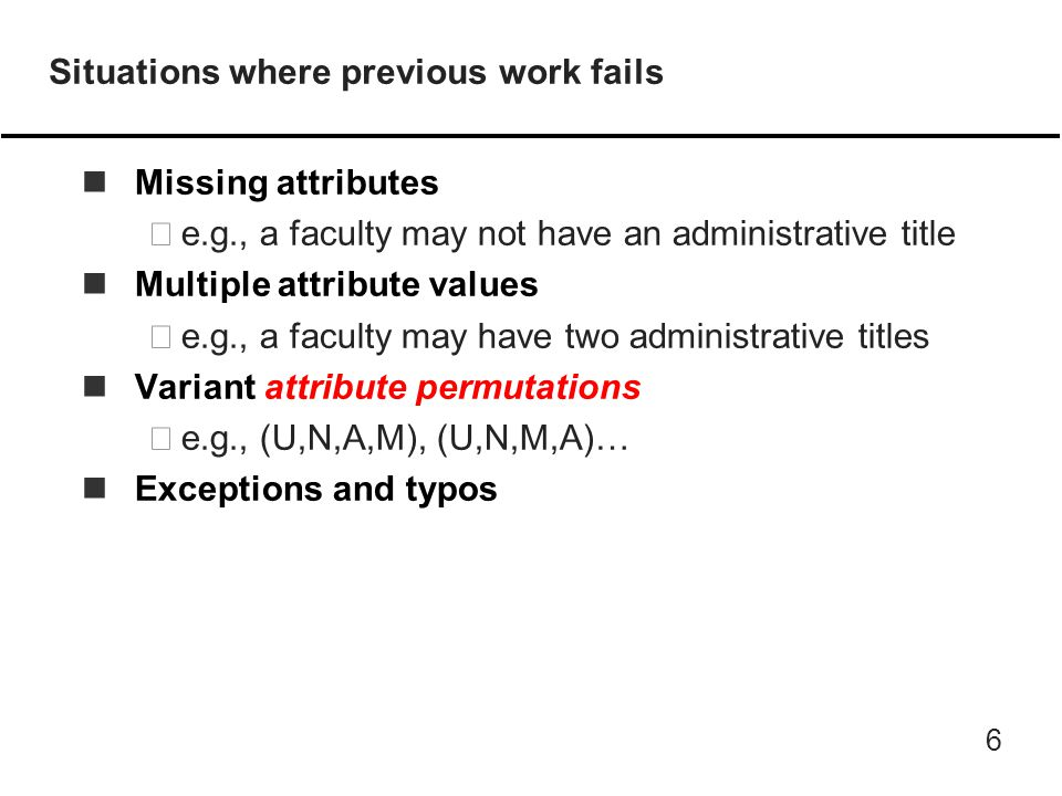 6 Situations where previous work fails nMissing attributes –e.g., a faculty may not have an administrative title nMultiple attribute values –e.g., a faculty may have two administrative titles nVariant attribute permutations –e.g., (U,N,A,M), (U,N,M,A)… nExceptions and typos
