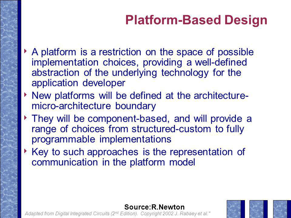 Source:R.Newton Platform-Based Design  A platform is a restriction on the space of possible implementation choices, providing a well-defined abstraction of the underlying technology for the application developer  New platforms will be defined at the architecture- micro-architecture boundary  They will be component-based, and will provide a range of choices from structured-custom to fully programmable implementations  Key to such approaches is the representation of communication in the platform model Adapted from Digital Integrated Circuits (2 nd Edition).