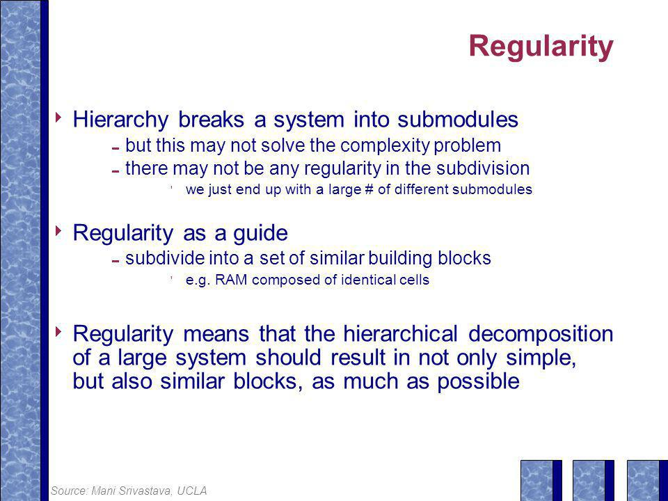 Regularity  Hierarchy breaks a system into submodules  but this may not solve the complexity problem  there may not be any regularity in the subdivision  we just end up with a large # of different submodules  Regularity as a guide  subdivide into a set of similar building blocks  e.g.