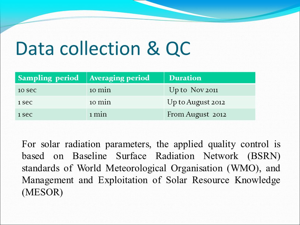 Data collection & QC Sampling periodAveraging period Duration 10 sec10 min Up to Nov 2011 1 sec10 minUp to August 2012 1 sec1 minFrom August 2012 For solar radiation parameters, the applied quality control is based on Baseline Surface Radiation Network (BSRN) standards of World Meteorological Organisation (WMO), and Management and Exploitation of Solar Resource Knowledge (MESOR)