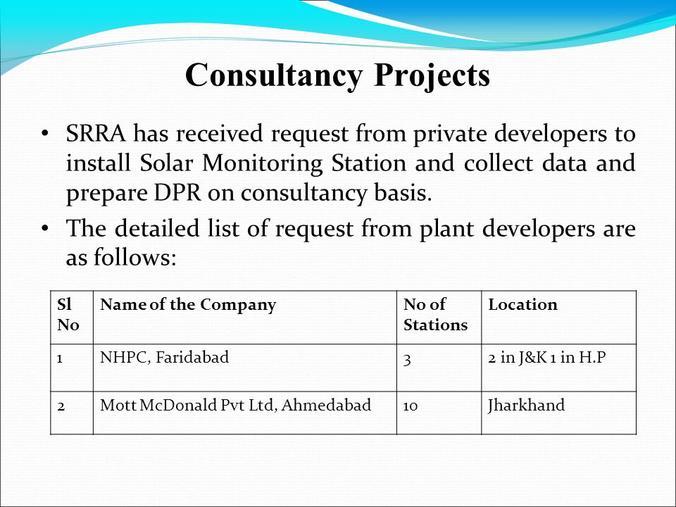 Consultancy Projects SRRA has received request from private developers to install Solar Monitoring Station and collect data and prepare DPR on consult