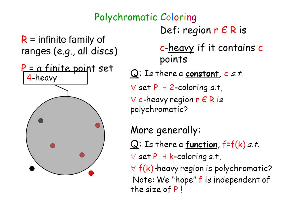 R = infinite family of ranges (e.g., all discs) P = a finite point set Polychromatic Coloring Def: region r Є R is c-heavy if it contains c points Q: Is there a constant, c s.t.