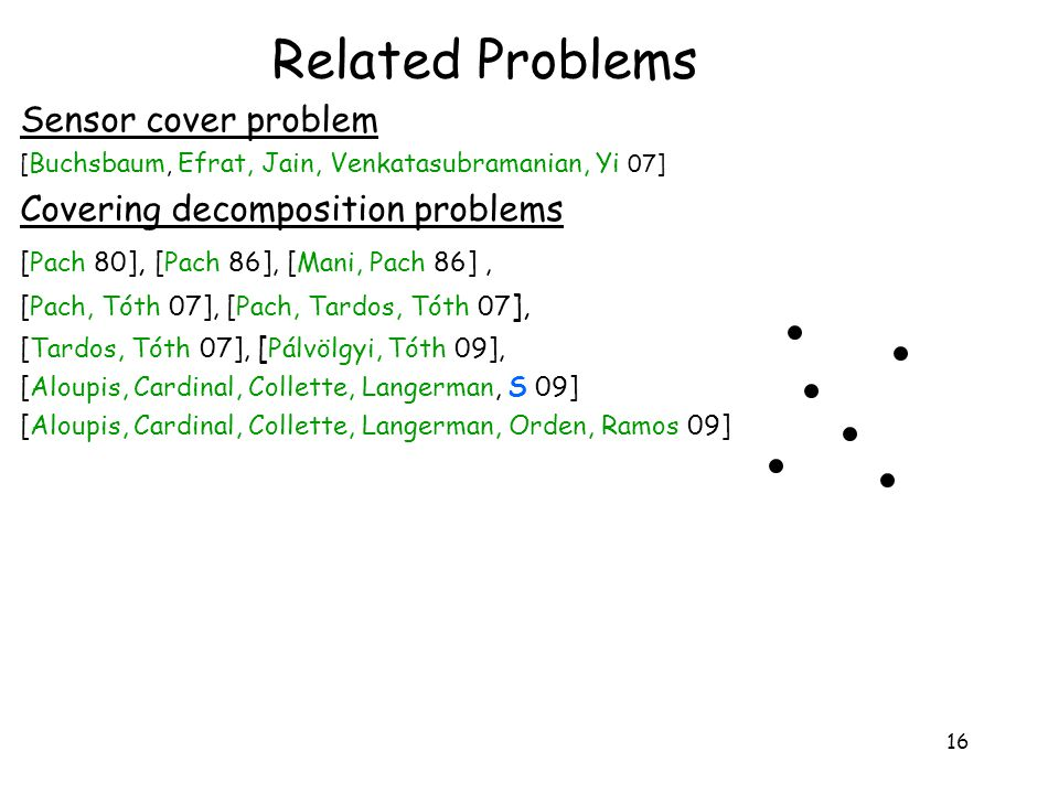 16 Related Problems Sensor cover problem [ Buchsbaum, Efrat, Jain, Venkatasubramanian, Yi 07] Covering decomposition problems [Pach 80], [Pach 86], [Mani, Pach 86], [Pach, Tóth 07], [Pach, Tardos, Tóth 07 ], [Tardos, Tóth 07], [ Pálvölgyi, Tóth 09], [Aloupis, Cardinal, Collette, Langerman, S 09] [Aloupis, Cardinal, Collette, Langerman, Orden, Ramos 09]