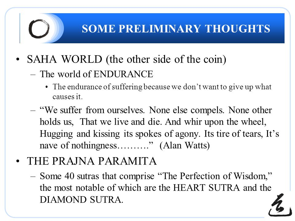 SOME PRELIMINARY THOUGHTS SAHA WORLD (the other side of the coin) –The world of ENDURANCE The endurance of suffering because we don't want to give up what causes it.