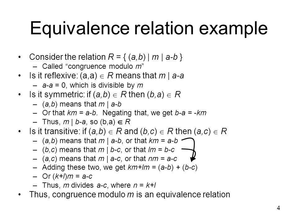 5 Sample questions Which of these relations on {0, 1, 2, 3} are equivalence relations.