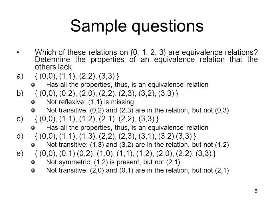 6 Sample questions Suppose that A is a non-empty set, and f is a function that has A as its domain.