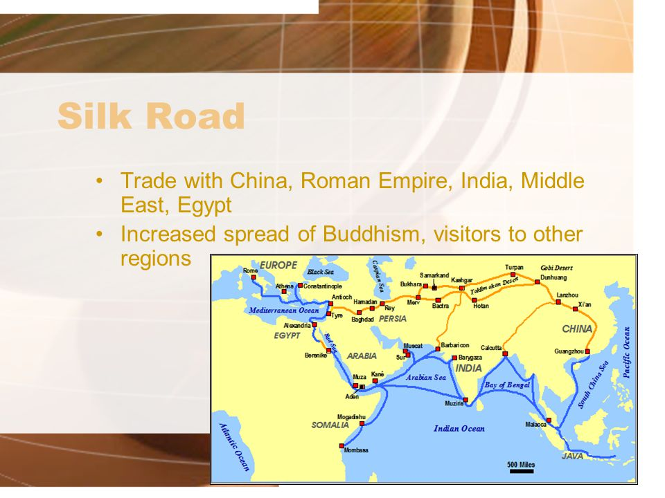 Silk Road As Trade Route Case Study Trade routes –Overland trade routes linked China to Roman empire –Sea lanes joined Asia, Africa, and Mediterranean basin into one network Trade goods –Silk and spices traveled west –Central Asia produced large horses and jade, sold in China –Roman empire provided glassware, jewelry, artworks, perfumes, textiles