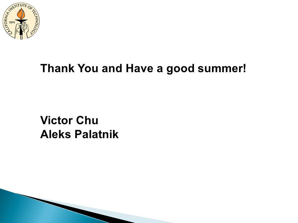 Thank You and Have a good summer! Victor Chu Aleks Palatnik