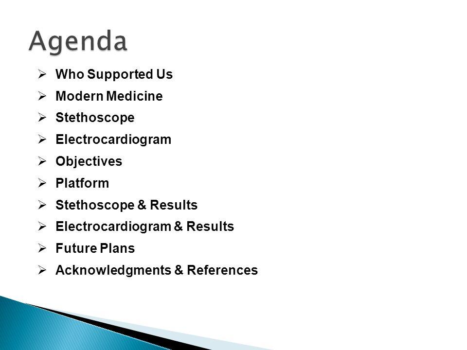  Who Supported Us  Modern Medicine  Stethoscope  Electrocardiogram  Objectives  Platform  Stethoscope & Results  Electrocardiogram & Results  Future Plans  Acknowledgments & References