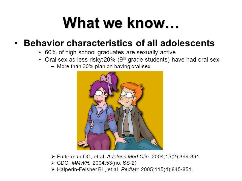 What we know… Behavior characteristics of all adolescents 60% of high school graduates are sexually active Oral sex as less risky:20% (9 th grade students) have had oral sex –More than 30% plan on having oral sex  Futterman DC, et al.
