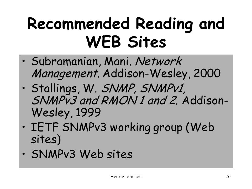 Henric Johnson20 Recommended Reading and WEB Sites Subramanian, Mani.