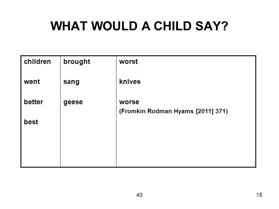 4015 WHAT WOULD A CHILD SAY? children went better best brought sang geese worst knives worse (Fromkin Rodman Hyams [2011] 371)