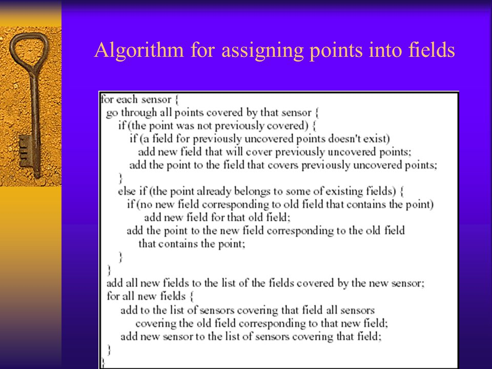 Algorithm for assigning points into fields
