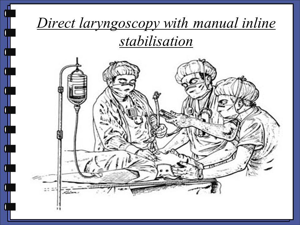 Direct laryngoscopy with manual inline stabilisation