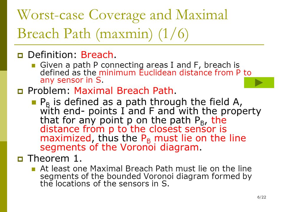 6/22 Worst-case Coverage and Maximal Breach Path (maxmin) (1/6)  Definition: Breach.