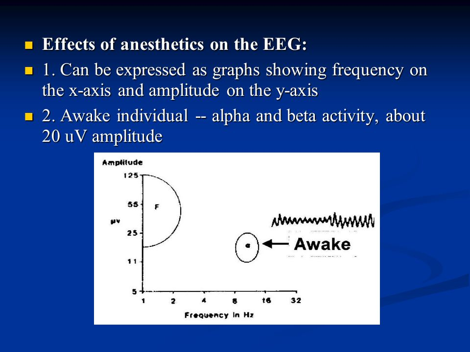 Effects of anesthetics on the EEG: Effects of anesthetics on the EEG: 1. Can be expressed as graphs showing frequency on the x-axis and amplitude on t