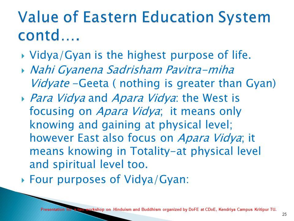  Vidya/Gyan is the highest purpose of life.