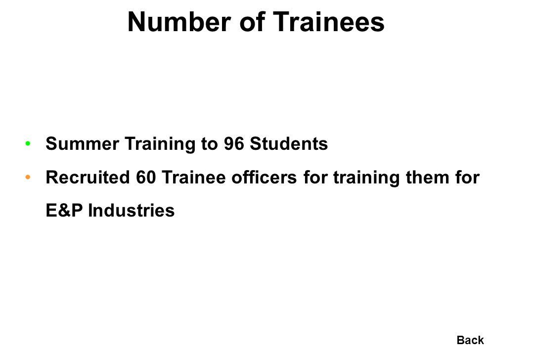 Number of Trainees Summer Training to 96 Students Recruited 60 Trainee officers for training them for E&P Industries Back