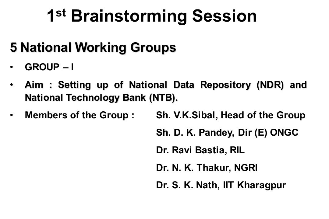 5 National Working Groups GROUP – I Aim : Setting up of National Data Repository (NDR) and National Technology Bank (NTB).Aim : Setting up of National Data Repository (NDR) and National Technology Bank (NTB).