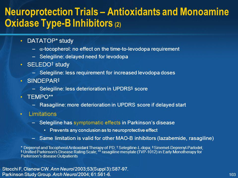 103 Neuroprotection Trials – Antioxidants and Monoamine Oxidase Type-B Inhibitors (2) DATATOP* study –  -tocopherol: no effect on the time-to-levodop