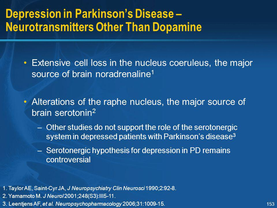 153 Depression in Parkinson's Disease – Neurotransmitters Other Than Dopamine Extensive cell loss in the nucleus coeruleus, the major source of brain