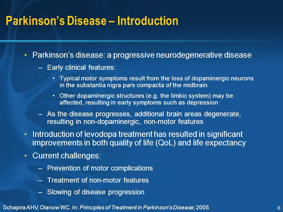 47 Drug Therapy in Parkinson's Disease – Initiation Traditionally –When symptoms interfere with social, domestic or professional life Patient judgment Physician advice to prevent: –Unnecessary prolongation of disability –Impaired quality of life Alternative approach –Consider advantages of early treatment Symptomatic relief of motor symptoms Improvement of quality of life Avoidance of irreversible motor programme loss Potential disease modification (neuroprotection) with some agents –Delay levodopa therapy and use alternatives to avoid or delay motor complications Nutt JG, Wooten GF.