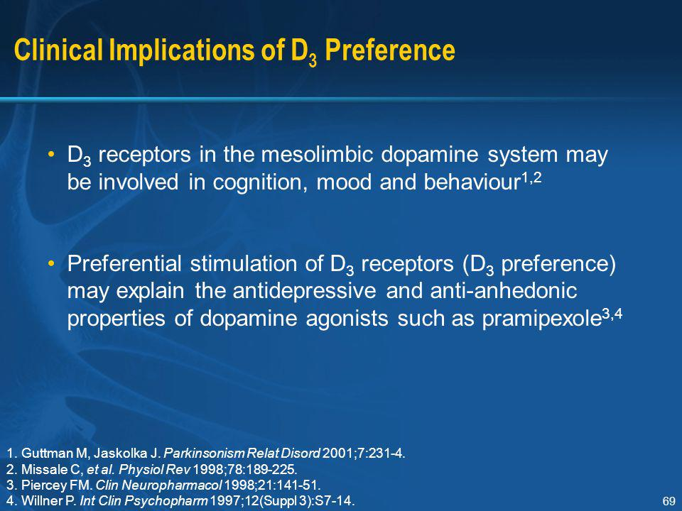 69 Clinical Implications of D 3 Preference D 3 receptors in the mesolimbic dopamine system may be involved in cognition, mood and behaviour 1,2 Prefer