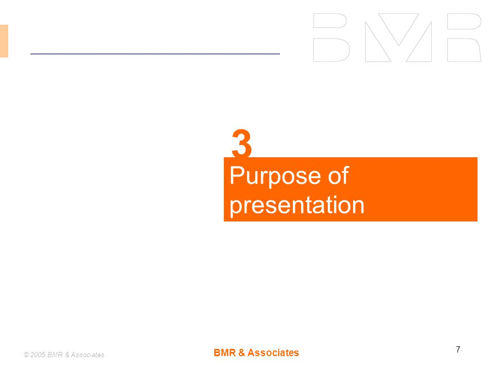 BMR & Associates 7 © 2005 BMR & Associates Purpose of presentation 3
