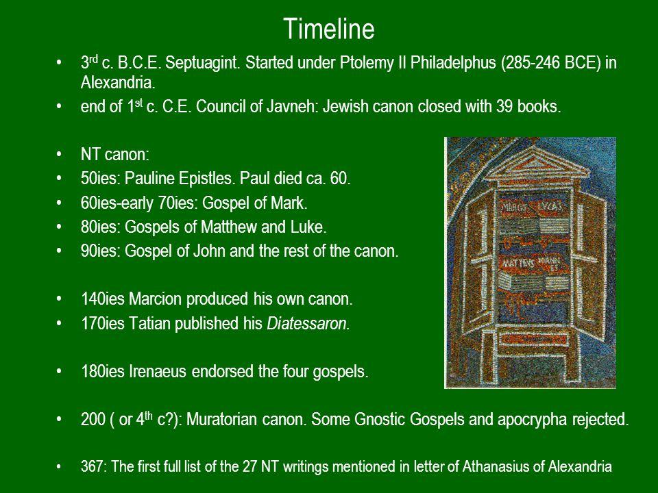 Timeline 3 rd c. B.C.E. Septuagint. Started under Ptolemy II Philadelphus (285-246 BCE) in Alexandria. end of 1 st c. C.E. Council of Javneh: Jewish c