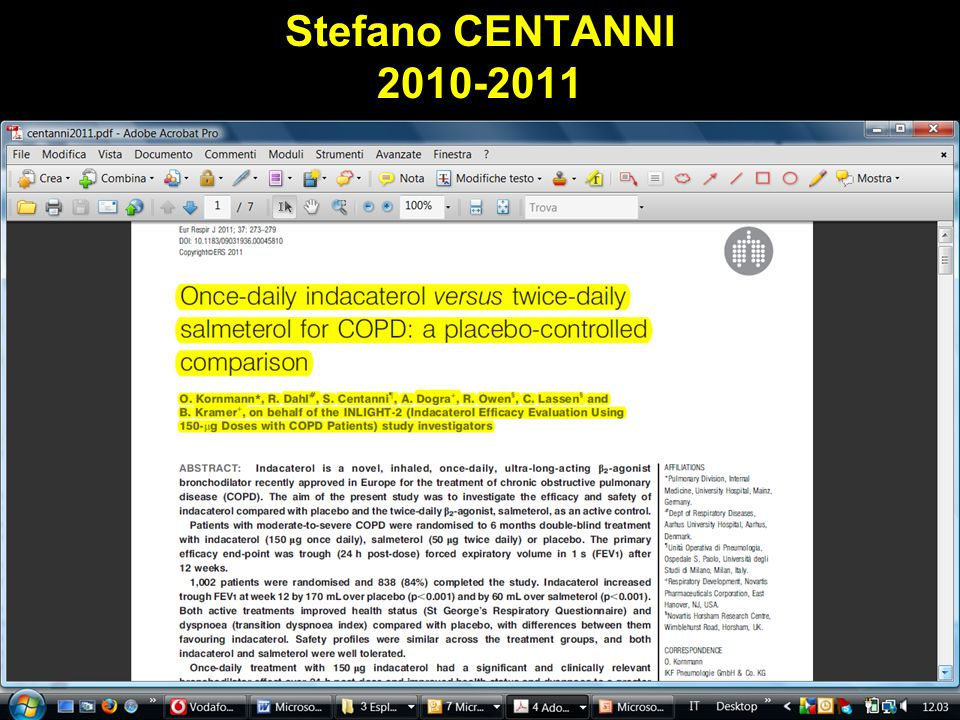 Stefano CENTANNI 2010-2011 Obaji A, Sethi S. Drugs and Aging 2001;18:1-11.