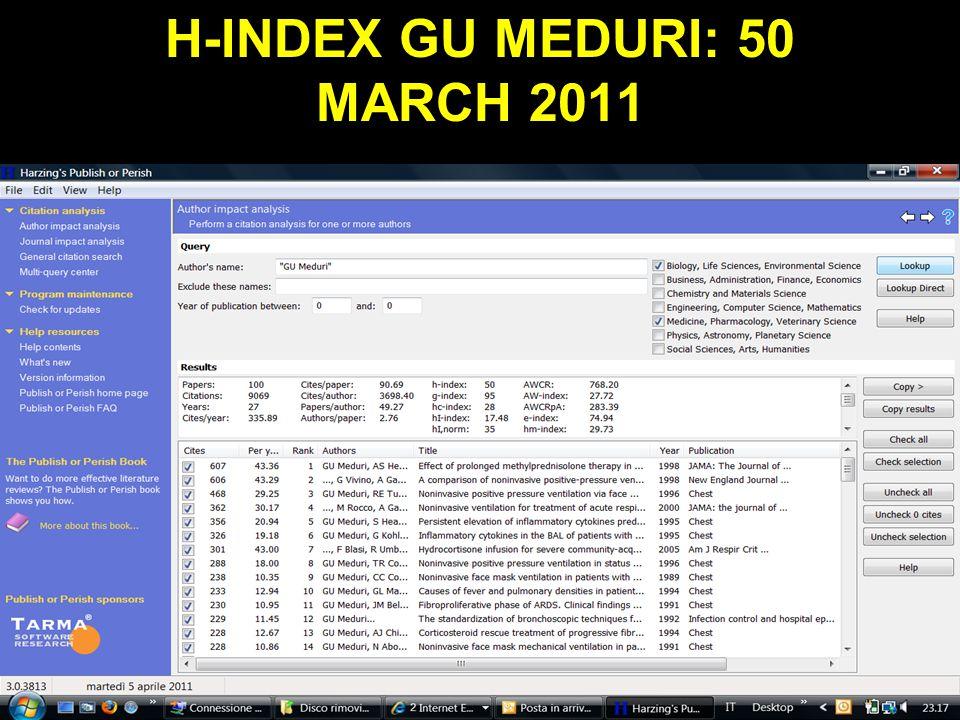 H-INDEX GU MEDURI: 50 MARCH 2011 Obaji A, Sethi S.