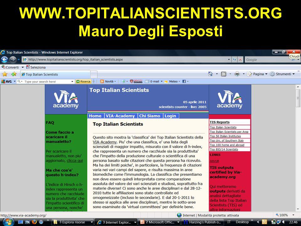WWW.TOPITALIANSCIENTISTS.ORG Mauro Degli Esposti Obaji A, Sethi S.