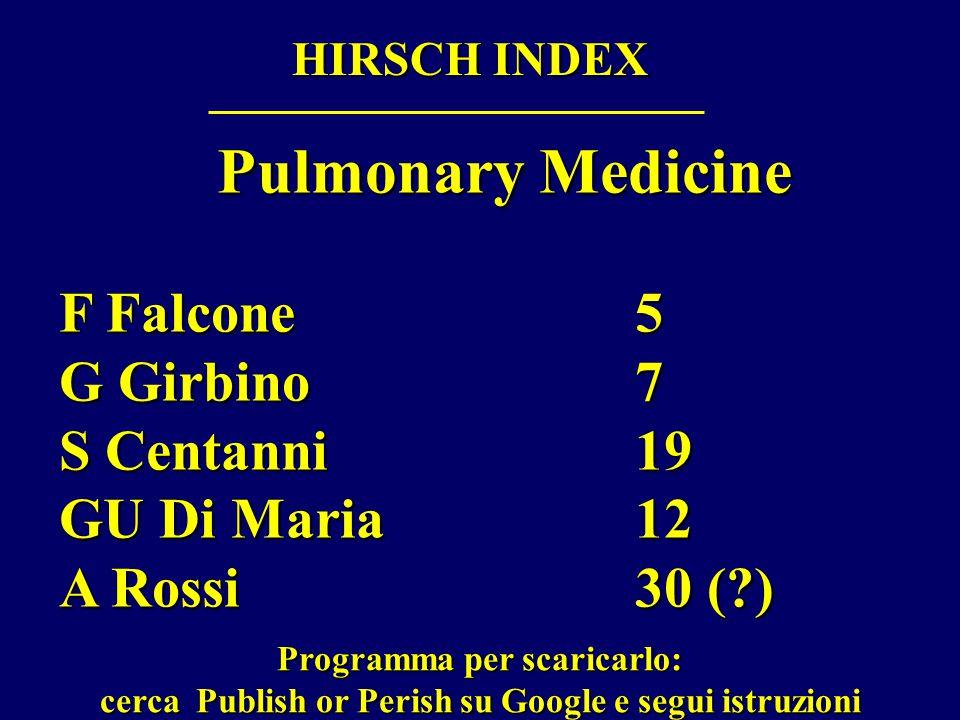 HIRSCH INDEX Pulmonary Medicine F Falcone 5 G Girbino 7 S Centanni 19 GU Di Maria 12 A Rossi30 ( ) Programma per scaricarlo: cerca Publish or Perish su Google e segui istruzioni