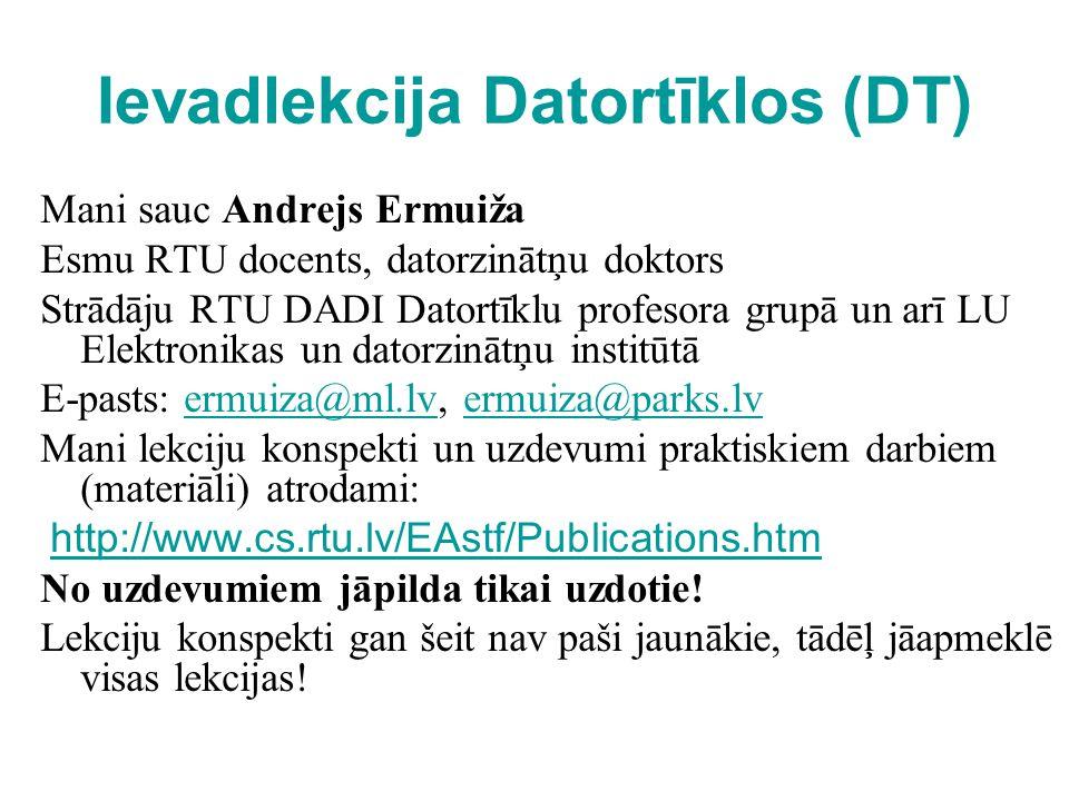 Ievadlekcija Datortīklos (DT) Mani sauc Andrejs Ermuiža Esmu RTU docents, datorzinātņu doktors Strādāju RTU DADI Datortīklu profesora grupā un arī LU