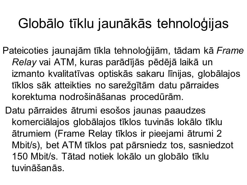 Globālo tīklu jaunākās tehnoloģijas Pateicoties jaunajām tīkla tehnoloģijām, tādam kā Frame Relay vai ATM, kuras parādījās pēdējā laikā un izmanto kva
