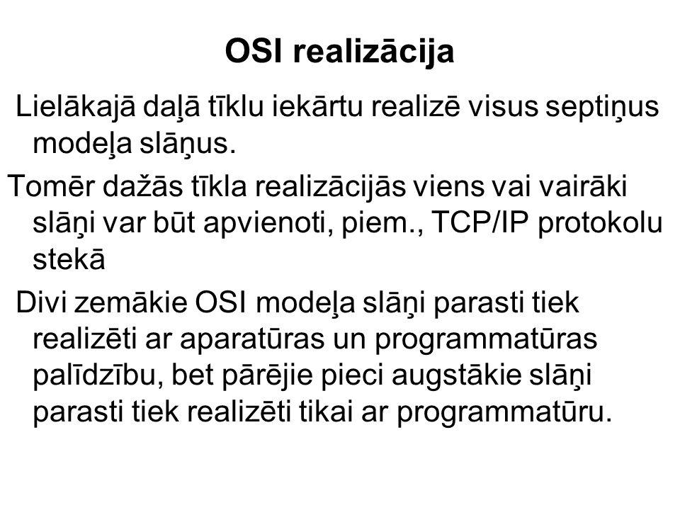 OSI realizācija Lielākajā daļā tīklu iekārtu realizē visus septiņus modeļa slāņus. Tomēr dažās tīkla realizācijās viens vai vairāki slāņi var būt apvi