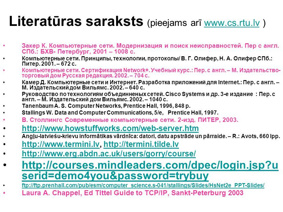 Literatūras saraksts (pieejams arī www.cs.rtu.lv )www.cs.rtu.lv Закер К. Компьютерные сети. Модернизация и поиск неисправностей. Пер с англ. СПб.: БХВ