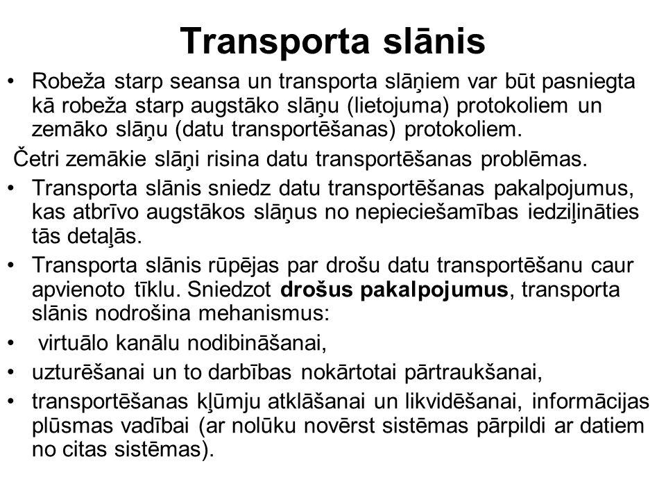 Transporta slānis Robeža starp seansa un transporta slāņiem var būt pasniegta kā robeža starp augstāko slāņu (lietojuma) protokoliem un zemāko slāņu (