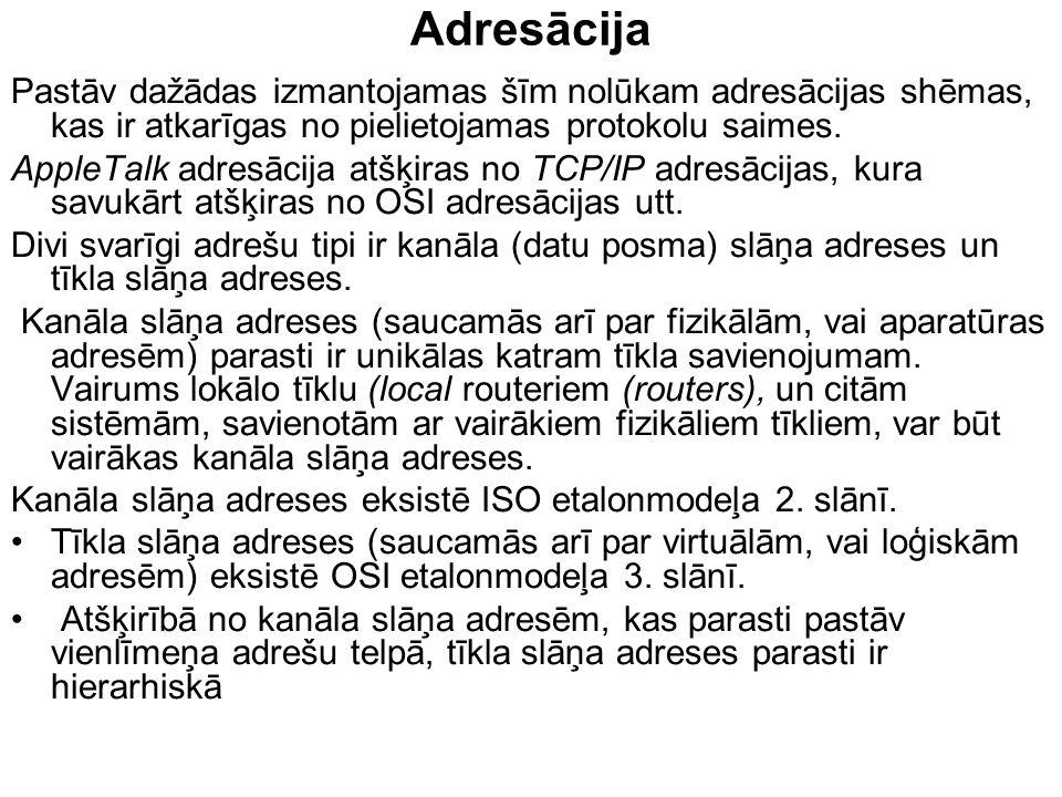 Adresācija Pastāv dažādas izmantojamas šīm nolūkam adresācijas shēmas, kas ir atkarīgas no pielietojamas protokolu saimes. AppleTalk adresācija atšķir