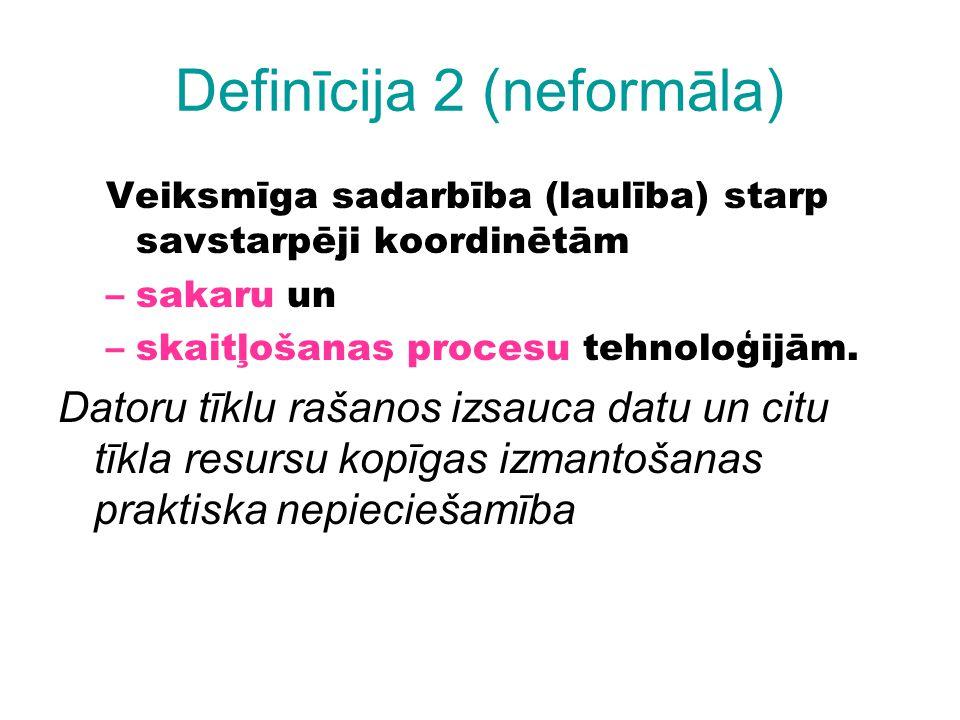 Definīcija 2 (neformāla) Veiksmīga sadarbība (laulība) starp savstarpēji koordinētām –sakaru un –skaitļošanas procesu tehnoloģijām. Datoru tīklu rašan