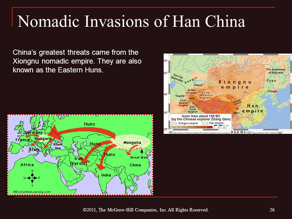 Nomadic Invasions of Han China ©2011, The McGraw-Hill Companies, Inc. All Rights Reserved. 26 China's greatest threats came from the Xiongnu nomadic e