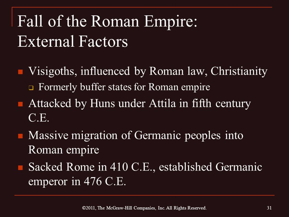 Fall of the Roman Empire: External Factors Visigoths, influenced by Roman law, Christianity  Formerly buffer states for Roman empire Attacked by Huns under Attila in fifth century C.E.