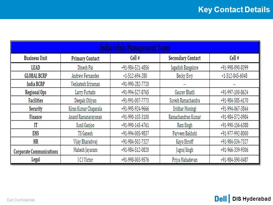 DIS Hyderabad Dell Confidential Key Contact Details