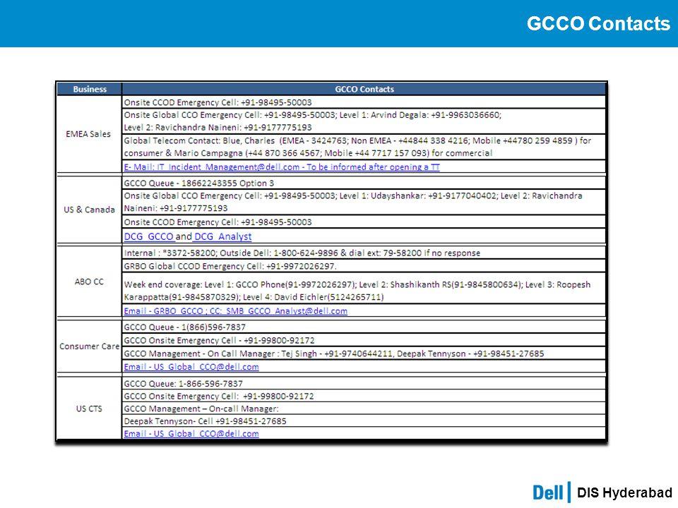 DIS Hyderabad GCCO Contacts