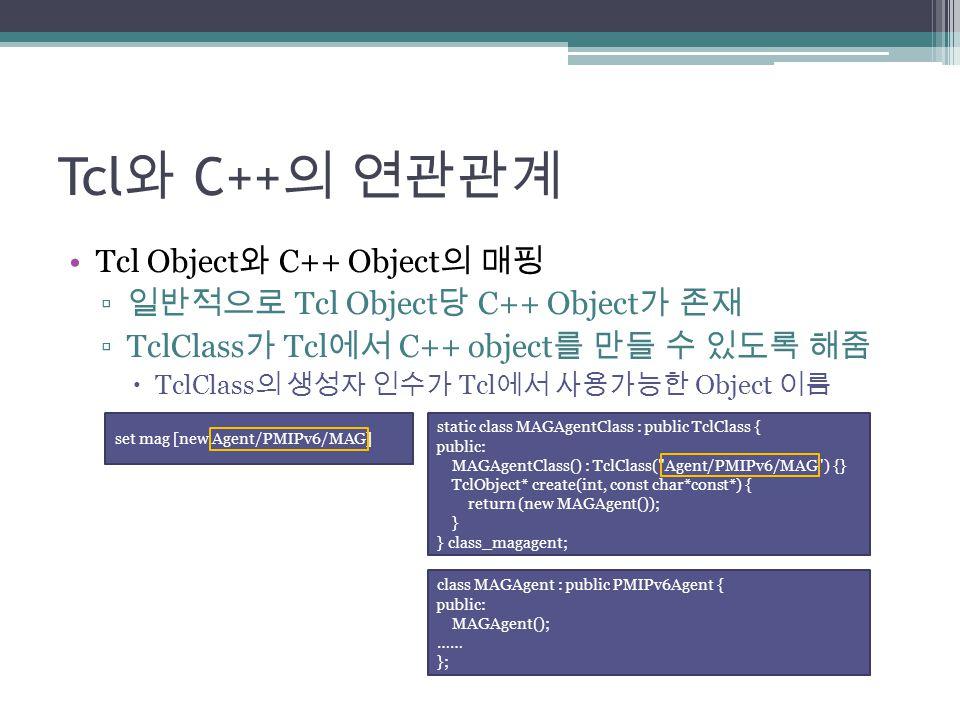 Tcl 와 C++ 의 연관관계 Tcl Object 와 C++ Object 의 매핑 ▫ 일반적으로 Tcl Object 당 C++ Object 가 존재 ▫TclClass 가 Tcl 에서 C++ object 를 만들 수 있도록 해줌  TclClass 의 생성자 인수가 Tc