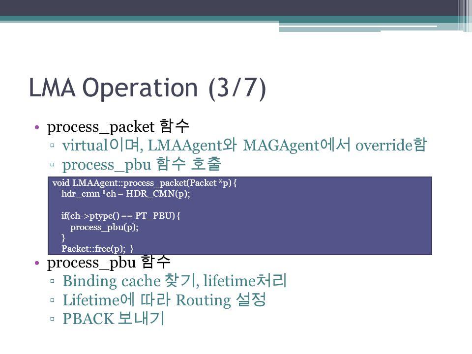 LMA Operation (3/7) process_packet 함수 ▫virtual 이며, LMAAgent 와 MAGAgent 에서 override 함 ▫process_pbu 함수 호출 process_pbu 함수 ▫Binding cache 찾기, lifetime 처리