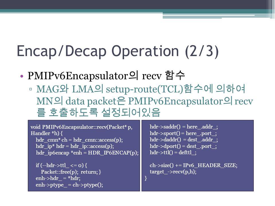 Encap/Decap Operation (2/3) PMIPv6Encapsulator 의 recv 함수 ▫MAG 와 LMA 의 setup-route(TCL) 함수에 의하여 MN 의 data packet 은 PMIPv6Encapsulator 의 recv 를 호출하도록 설정