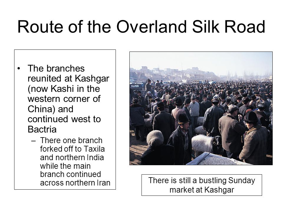 Route of the Overland Silk Road The branches reunited at Kashgar (now Kashi in the western corner of China) and continued west to Bactria –There one b
